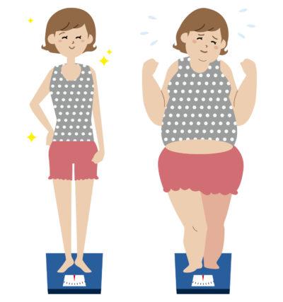 太っている女性とスリムな女性