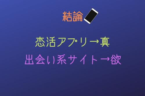 結論からいうと、「恋活アプリ→真」、「出会い系サイト→欲」